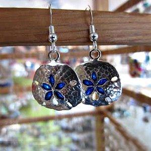 Sterling Silver Sand Dollar Earrings with enamel highlights.~ Steve's Custom Jewelers ~ Made in Port Aransas, Texas.