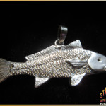 Sterling Silver Big Redfish with Black Diamond Pendant ~ Steve's Custom Jewelers ~ Made in Port Aransas, Texas.