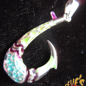 Sterling Silver Enameled Fish Hook Pendant - Steve's Custom Jewelers - Made in Port Aransas, Texas.