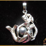 Sterling Silver Mermaid with Pearl Pendant Charm ~ Steve's Custom Jewelers ~ Made in Port Aransas, Texas.