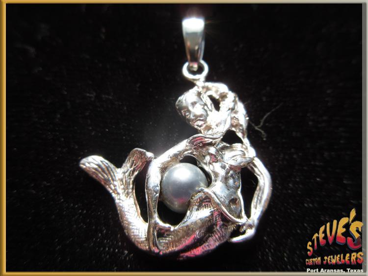 Sterling silver mermaid with pearl pendant sterling silver mermaid with pearl pendant charm steves custom jewelers made in port aransas aloadofball Images