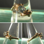 14K Gold Dolphins with .5C Aquamarine Accent ~ Ladies Ring