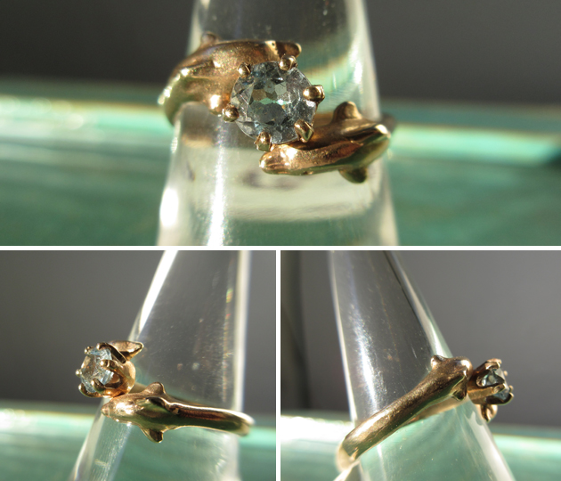 14K Gold Dolphins with .5C Aquamarine Accent ~ Ladies Ring