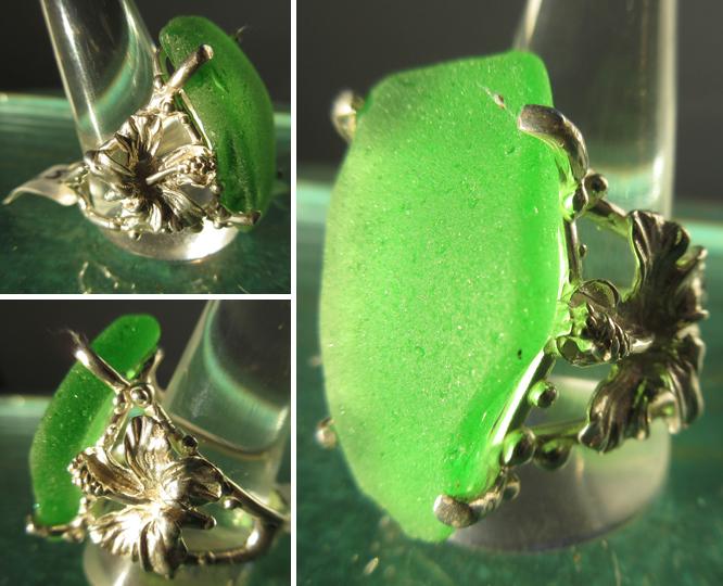 Steve's Custom Jewelers ~ Sterling Silver Emerald Green Sea Glass Ladies Ring