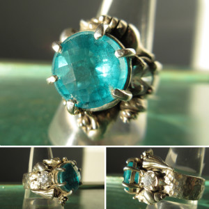 Paraiba Tourmaline Doublet Sterling Silver Sea Shells w/ CZ Accents Ladies Ring