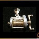 14k Gold & Sterling Silver Off Shore Fishing Reel Pendant