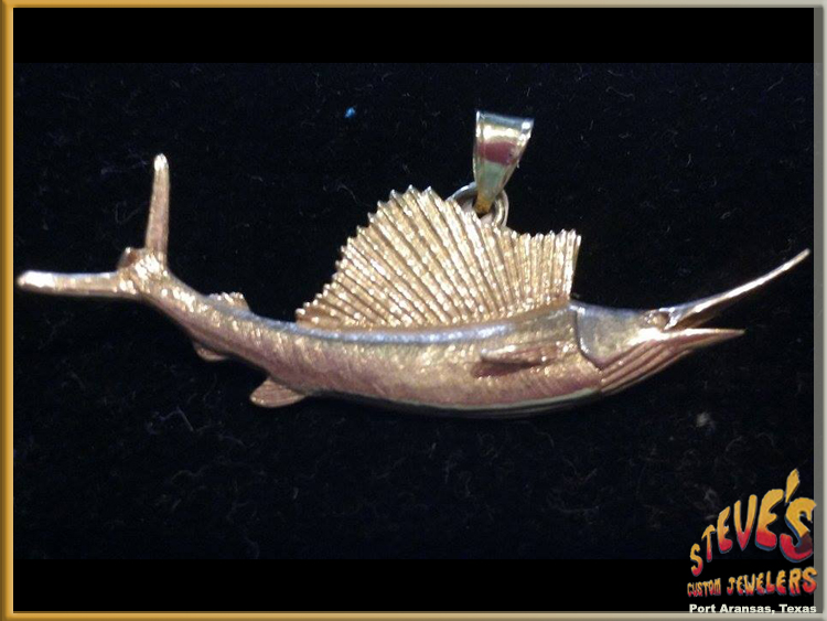 Gold Sailfish Pendant - 14K