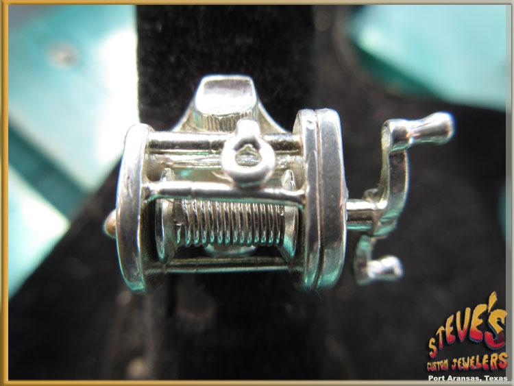 Mens-Silver-Fishing-Reel-Ring-99-B