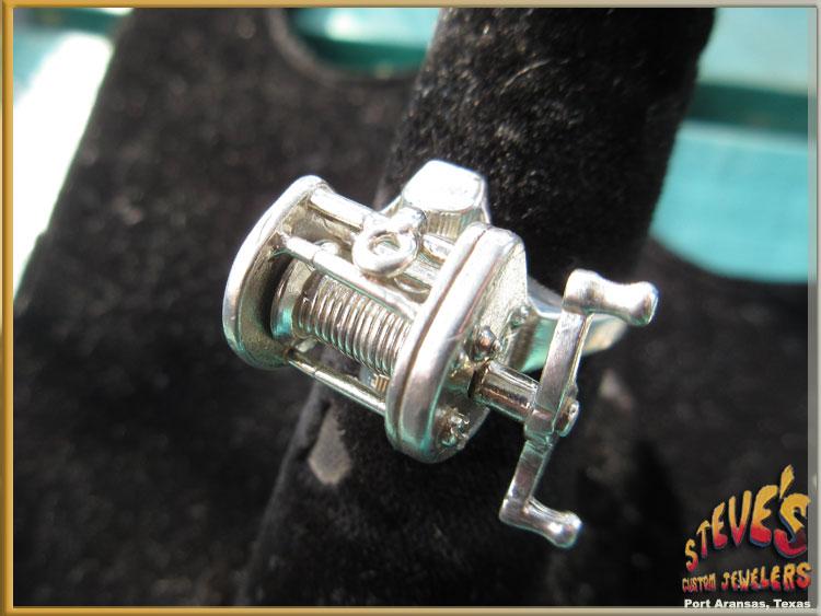 Mens-Silver-Fishing-Reel-Ring-99-C