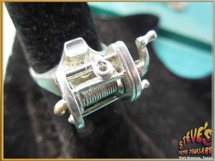 Fishing Reel Mens Ring ~ Sterling Silver