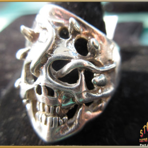 Silver Mens Scull Ring ~ Steve's Custom Jewelers.
