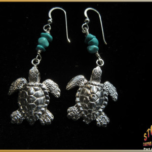 Sea Turtles Earrings Sterling Silver Turquoise