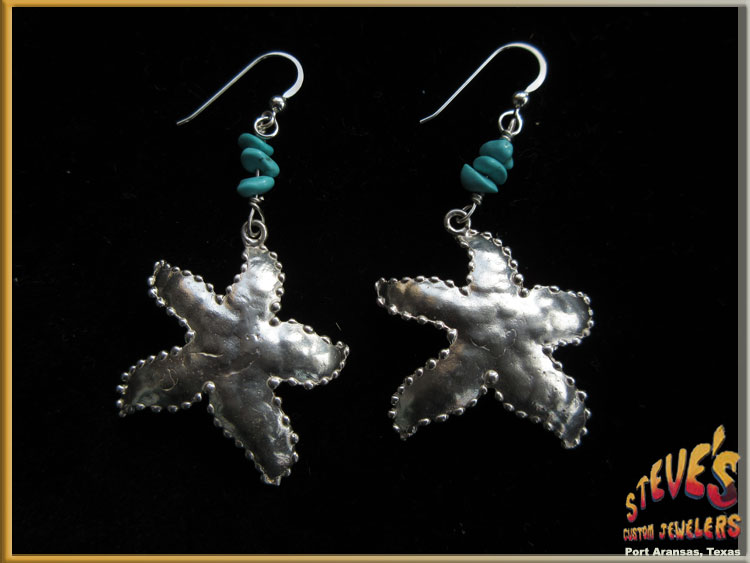 Starfish Earrings Sterling Silver Turquoise